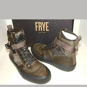 FRYE Men Combat Sneaker Boots Size 8.5 OliveLeathe